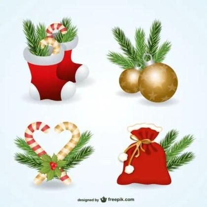 Christmas Ornaments Pack Free Vectors