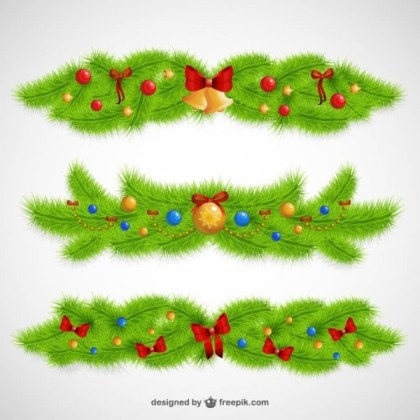 Christmas Ornaments with Leaves Free Vectors