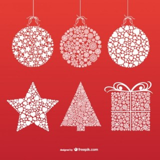 Christmas Ornaments with Snowflakes and Stars Free Vectors