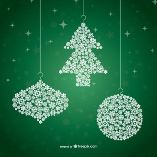 Christmas Ornaments with Snowflakes Free Vectors