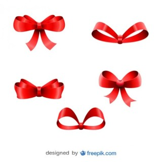 Christmas Red Ribbons Five Bows Collection Free Vectors