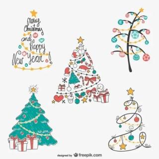 Christmas Tree Drawings Pack Free Vectors