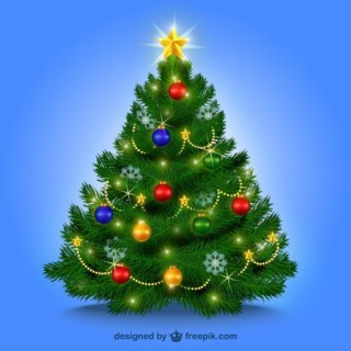 Christmas Tree with Baubles Free Vectors