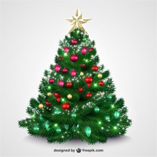 Christmas Tree with Bright Baubles Free Vectors