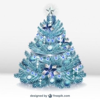 Christmas Tree with Ornaments Free Vectors