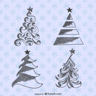 Christmas Trees Drawings Pack Free Vectors