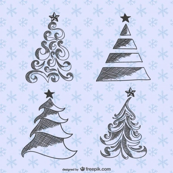 Christmas Trees Drawings Pack Free Vectors