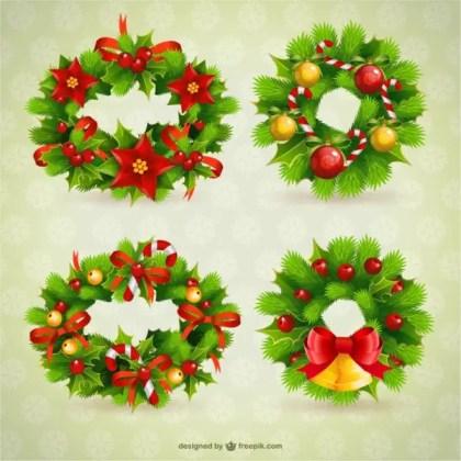 Christmas Wreaths Free Vectors