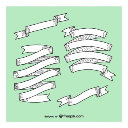 Collection of Drawing Wood Ribbons Free Vectors