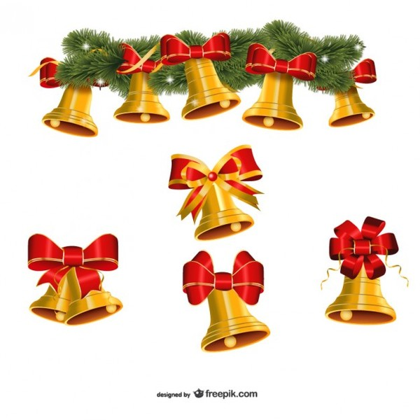 Collection of Golden Christmas Bells Vector Free Vectors