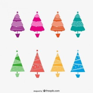 Colorful Abstract Christmas Trees Free Vectors