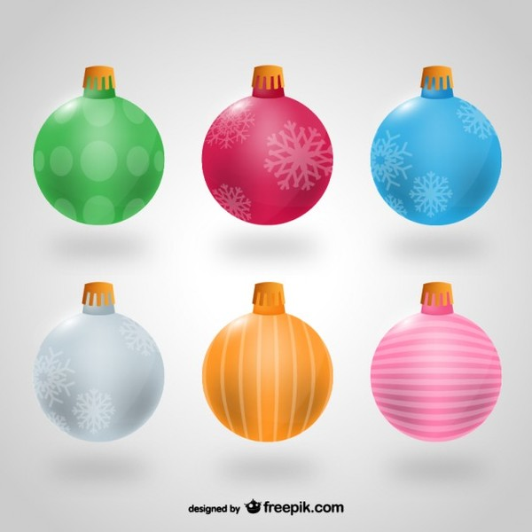 Colorful Christmas Balls Free Vectors
