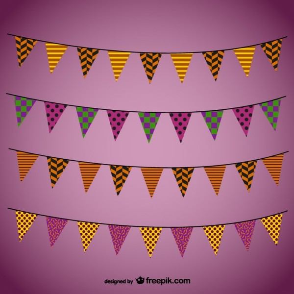 Colorful Garlands For Halloween Free Vectors