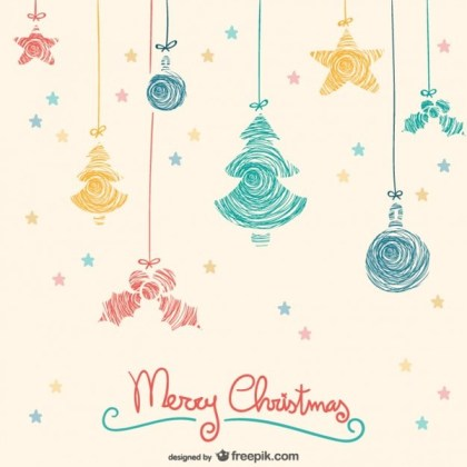 Colorful Hanging Christmas Ornaments Free Vectors