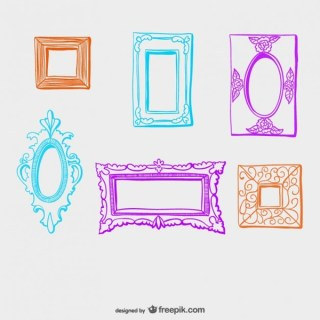 Colorful Vintage Style Frames Collection Free Vectors