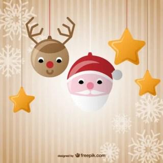 Cute Christmas Balls Cartoon Free Vectors