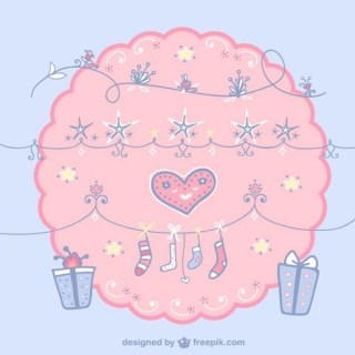 Cute Christmas Decoration and Heart Free Vectors