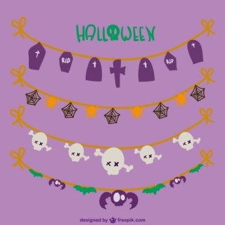 Cute Halloween Garlands Free Vectors