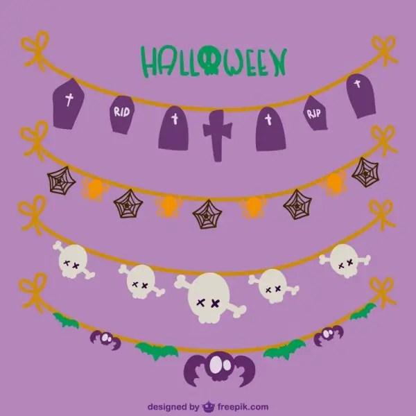 Cute Halloween Garlands Free Vectors