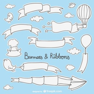 Doodle Banners and Ribbons Free Vectors