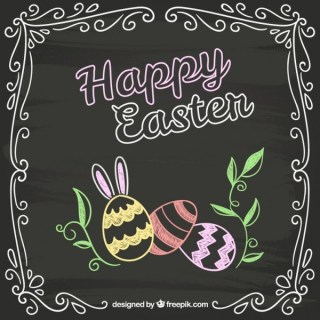 Easter Card In Chalkboard Style Free Vectors