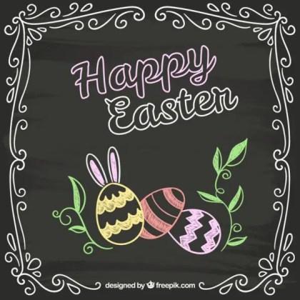 Easter Card In Chalkboard Style Free Vectors