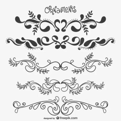 Elegant Floral Ornaments Free Vectors