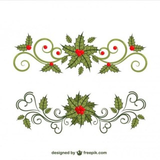 Floral Christmas Borders Free Vectors