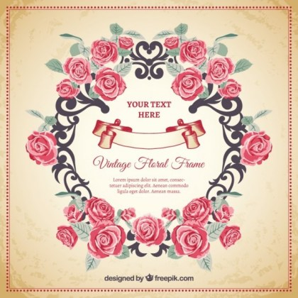 Floral Frame In Vintage Style Free Vectors