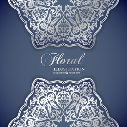 Floral Lace Pattern Invitation Free Vectors