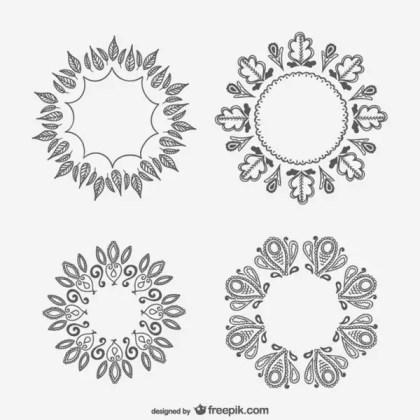 Floral Ornaments Drawings Free Vectors