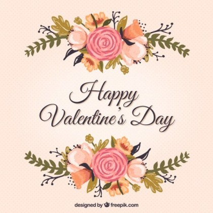 Floral Valentine's Card Free Vectors