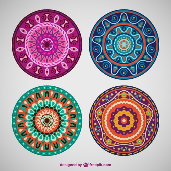 Flower Mandala Ornaments Free Vectors