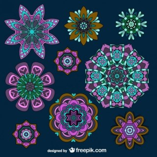 Flower Ornaments Collection Vector Free Free Vectors