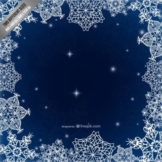 Frame with Calligraphic Snowflakes Free Vectors
