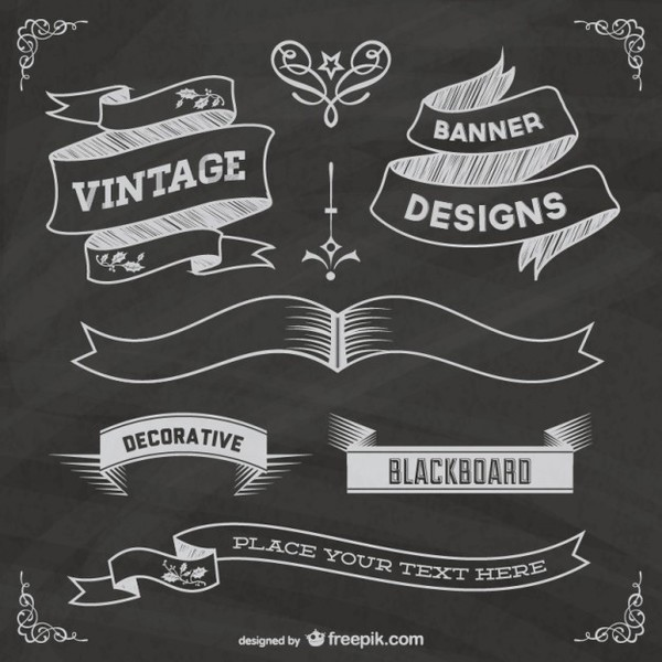 Free Chalkboard Grapic Elements Poster Free Vectors