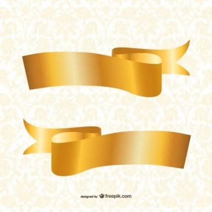 Gold Ribbons Template Free Vectors