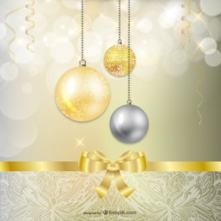 Golden and Silver Christmas Baubles Free Vectors