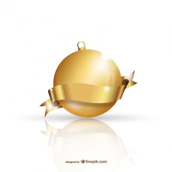 Golden Christmas Ball Free Vectors