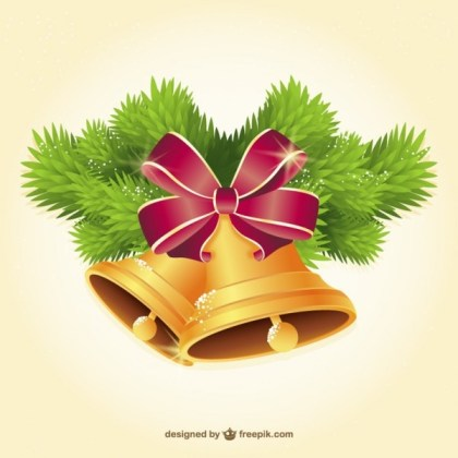 Golden Christmas Bells Illustration Free Vectors