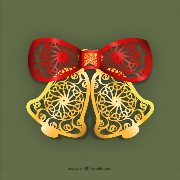 Golden Christmas Bells with Red Bow Vector Free Vectors