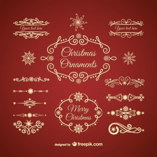 Golden Christmas Ornaments Free Vectors