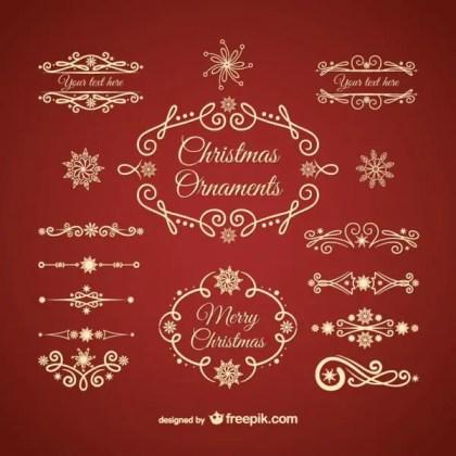 Golden Christmas Ornaments Free Vectors