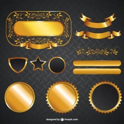 Golden Graphic Elements Free Vectors