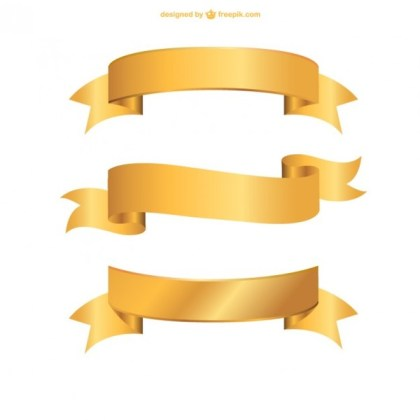 Golden Ribbons Collection Free Vectors