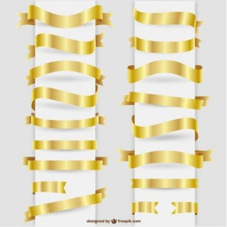 Golden Ribbons Graphic Elements Collection Free Vectors