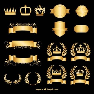 Golden Vector Graphics Elements Free Vectors