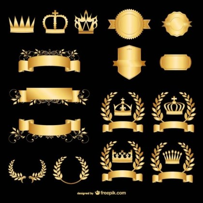 Golden Vector Graphics Elements Free Vectors