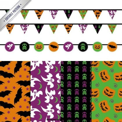 Halloween Editable Patterns and Garlands Pack Free Vectors