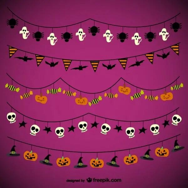 Halloween Garlands Pack Free Vectors